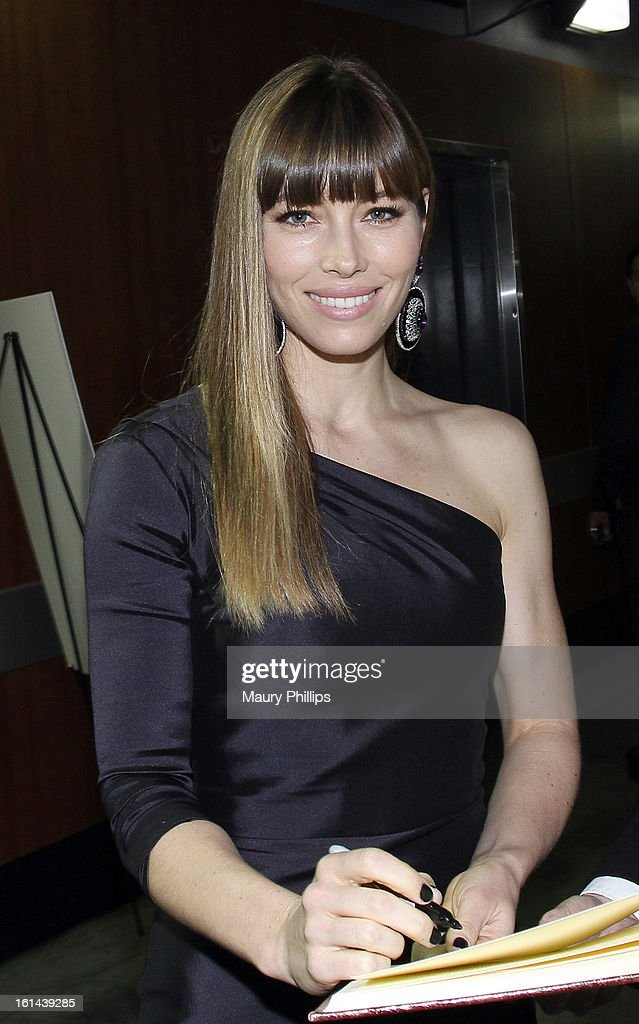 Actress Jessica Biel poses at the GRAMMY Charities Signing Booth during the 55th Annual GRAMMY Awards at STAPLES Center on February 10, 2013 in Los Angeles, California.