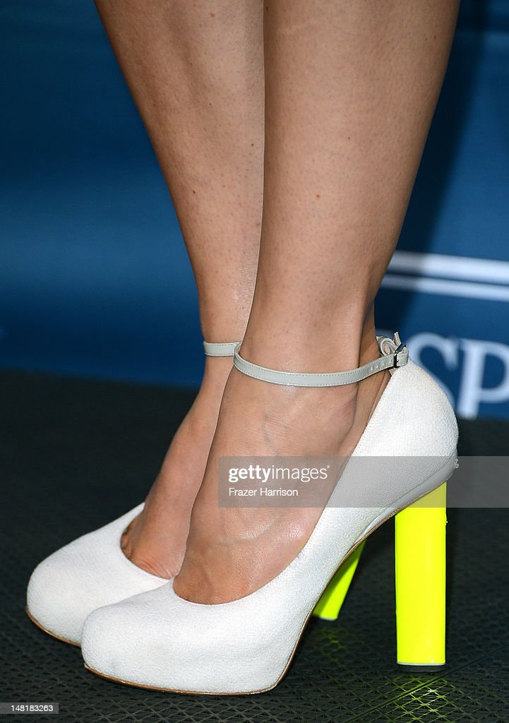 Actress Jessica Biel (shoe detail) poses in the press room during the 2012 ESPY Awards at Nokia Theatre L.A. Live on July 11, 2012 in Los Angeles, California.
