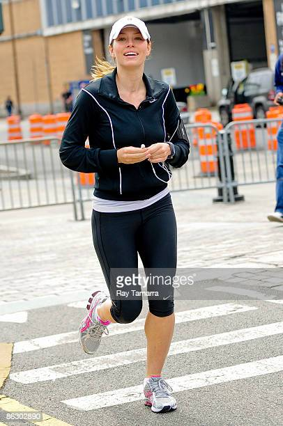 Actress Jessica Biel runs along the West Side Highway bike path on April 30 2009 in New York City