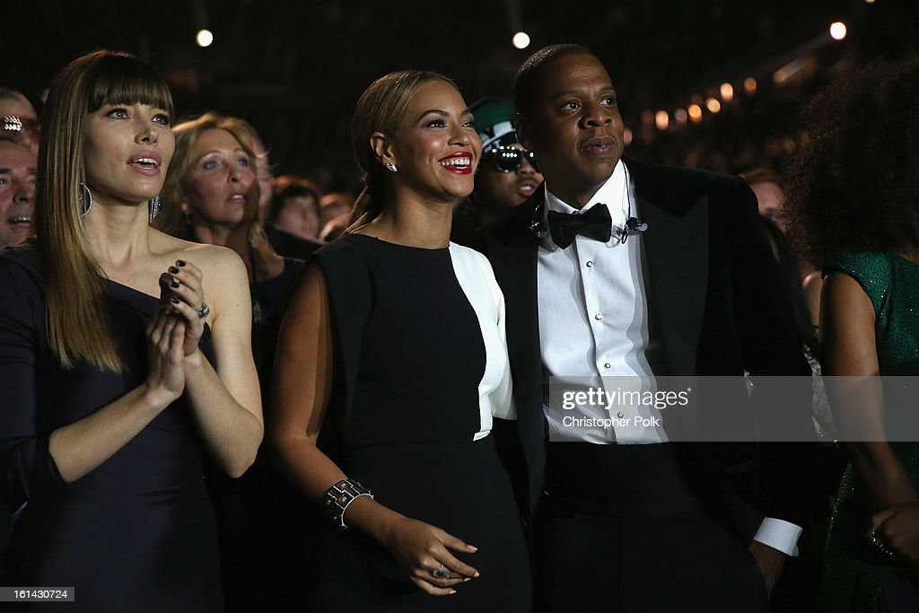 Actress Jessica Biel, singer Beyonce and hip-hop artist Jay Z attend the 55th Annual GRAMMY Awards at STAPLES Center on February 10, 2013 in Los Angeles, California.