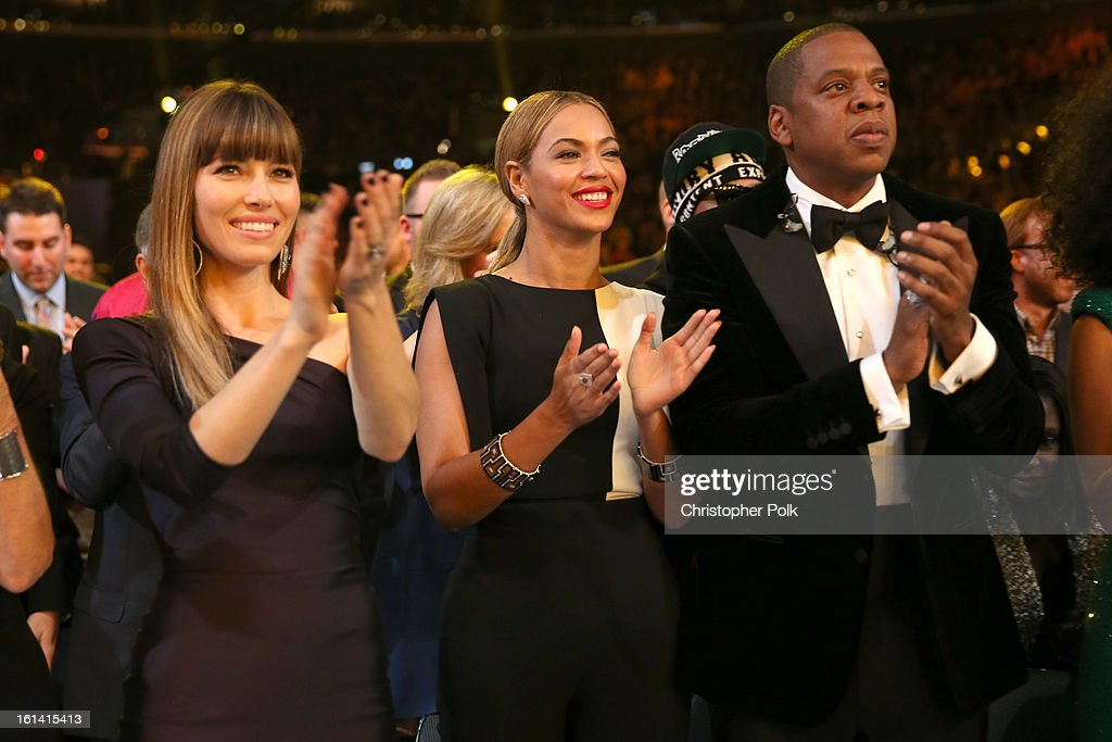 Actress Jessica Biel, singer Beyonce and rapper Jay-Z attend the 55th Annual GRAMMY Awards at STAPLES Center on February 10, 2013 in Los Angeles, California.