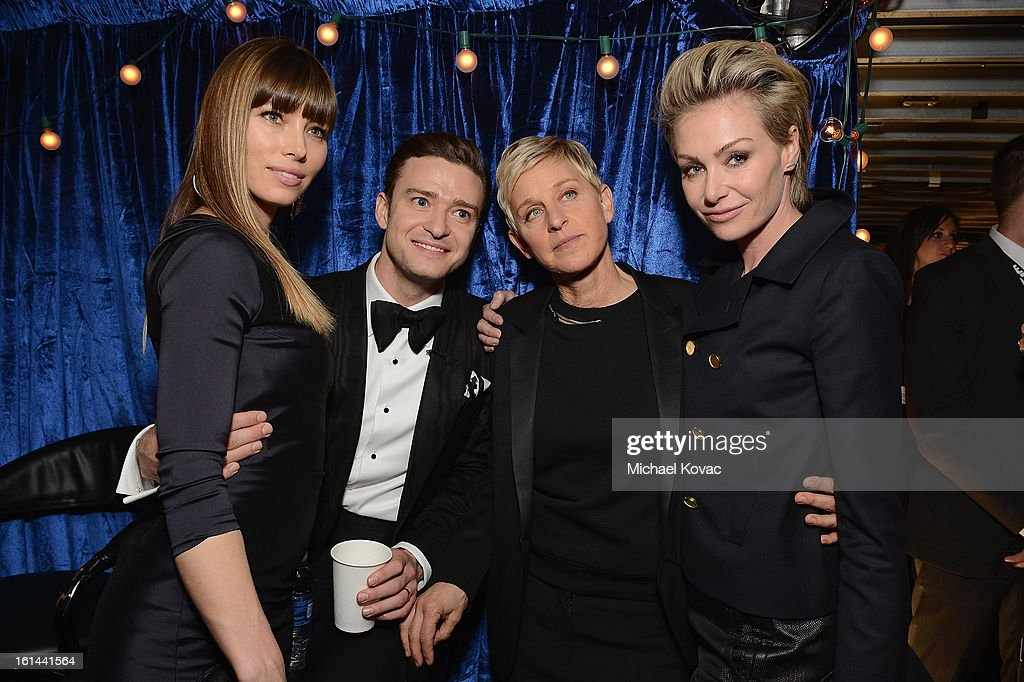 Actress Jessica Biel, singer Justin Timberlake, television personality Ellen DeGeneres and Portia de Rossi attends the 55th Annual GRAMMY Awards at STAPLES Center on February 10, 2013 in Los Angeles, California.