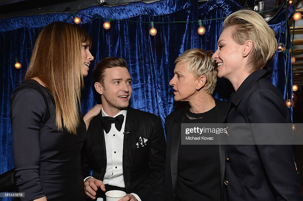 Actress Jessica Biel, singer Justin Timberlake, television personality Ellen DeGeneres and Portia de Rossi attend the 55th Annual GRAMMY Awards at STAPLES Center on February 10, 2013 in Los Angeles, California.