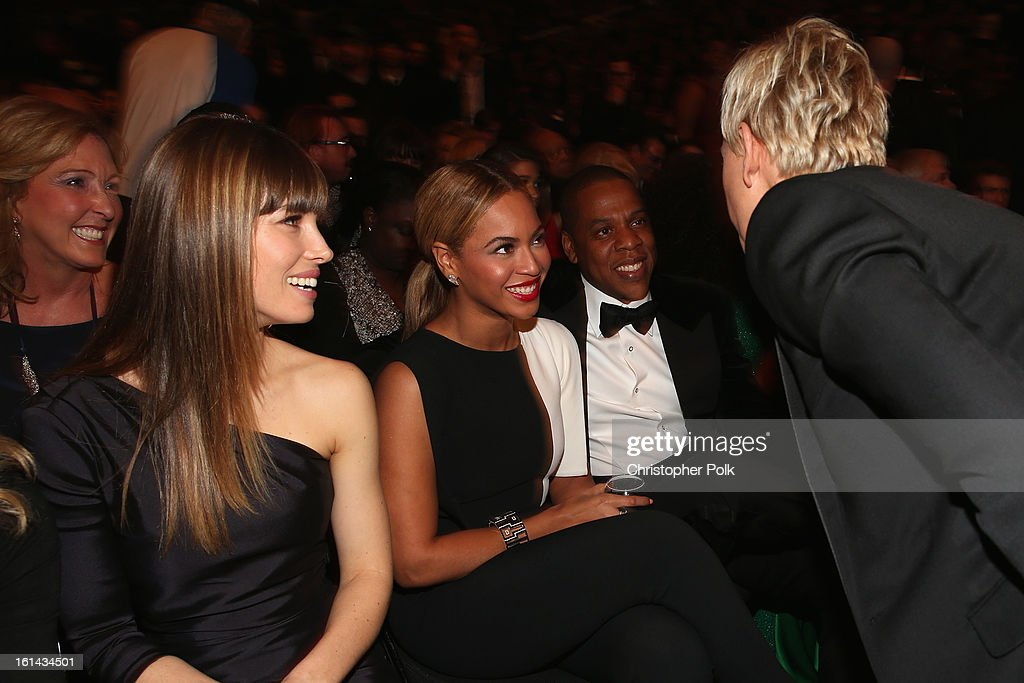 Actress Jessica Biel, Singers Beyonce and Jay-Z attend the 55th Annual GRAMMY Awards at STAPLES Center on February 10, 2013 in Los Angeles, California.