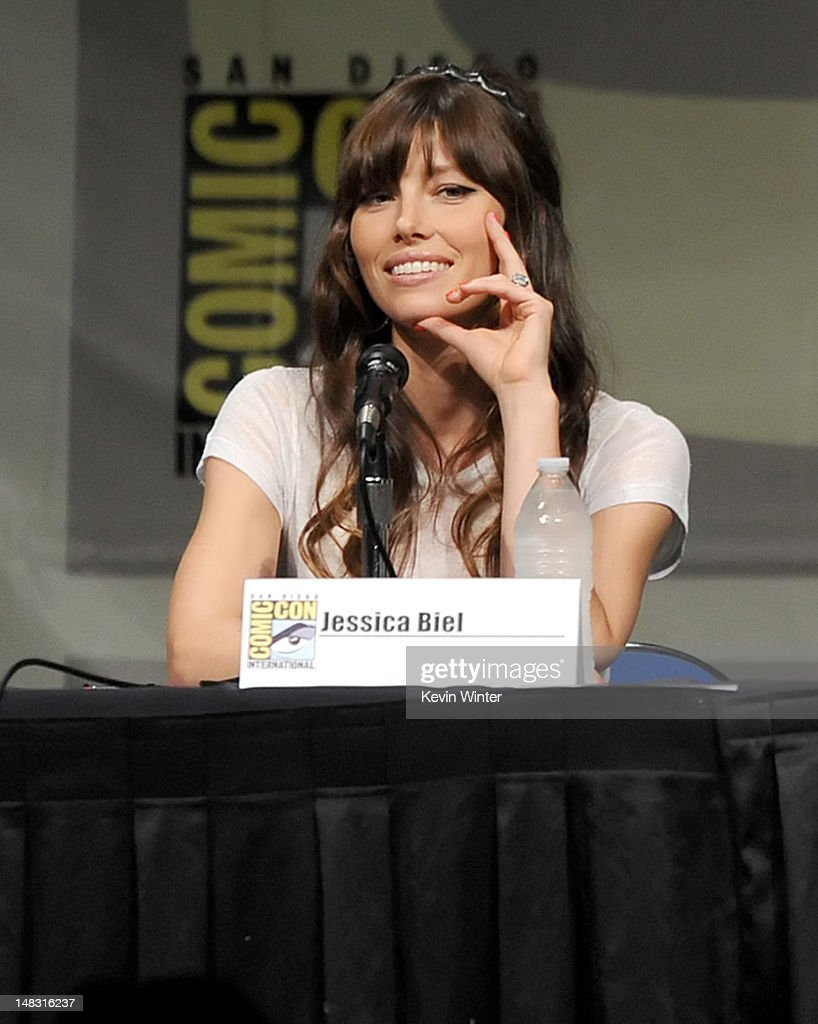 Actress Jessica Biel speaks during Sony's 'Total Recall' panel during Comic-Con International 2012 at San Diego Convention Center on July 13, 2012 in San Diego, California.