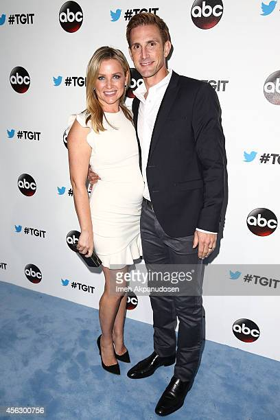 Actress Jessica Capshaw and husband Christopher Gavigan attend the TGIT Premiere event at Palihouse on September 20 2014 in West Hollywood California