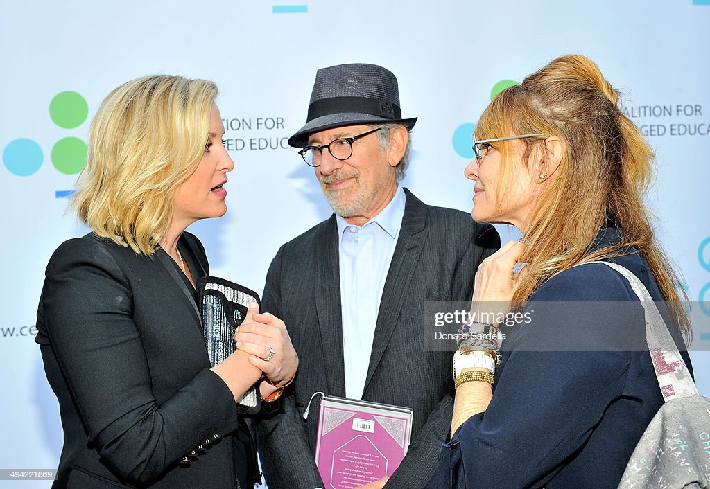 Actress Jessica Capshaw, Director Steven Spielberg and actress Kate Capshaw attend the first annual Poetic Justice Fundraiser for the Coalition For Engaged Education at the Herb Alpert Educational Village on May 28, 2014 in Santa Monica, California.