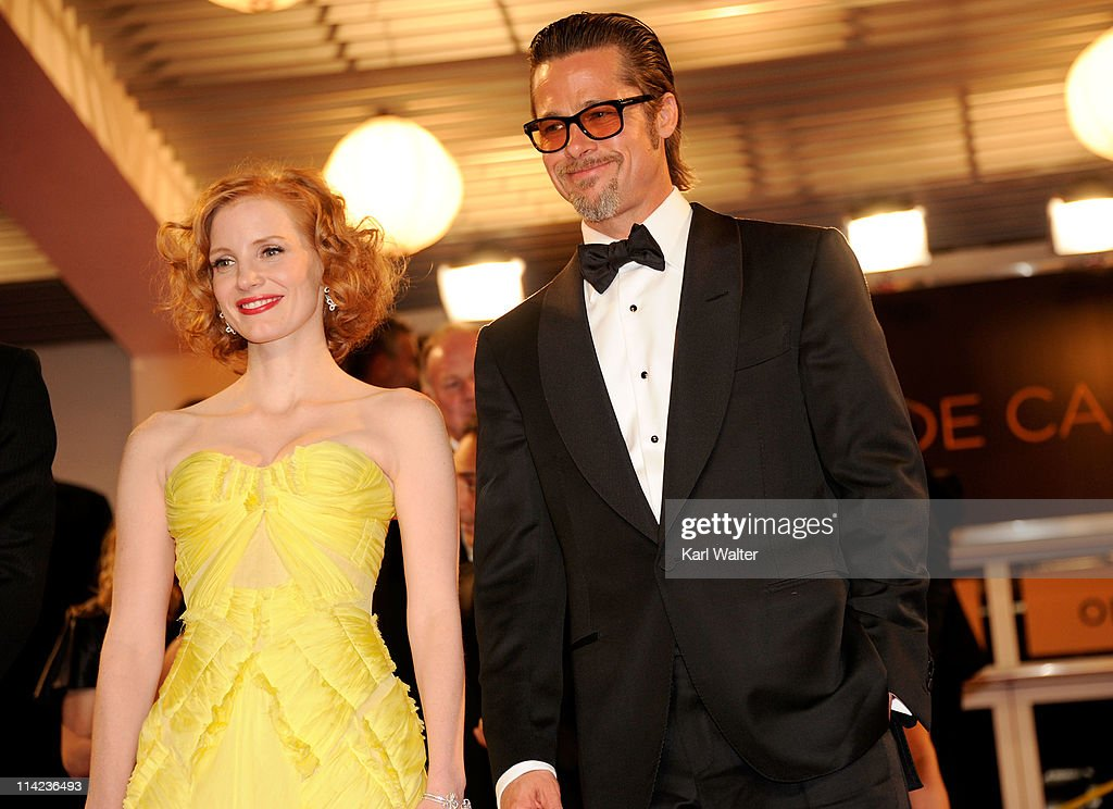 Actress Jessica Chastain (L) and actor Brad Pitt depart 'The Tree Of Life' premiere during the 64th Annual Cannes Film Festival at Palais des Festivals on May 16, 2011 in Cannes, France.