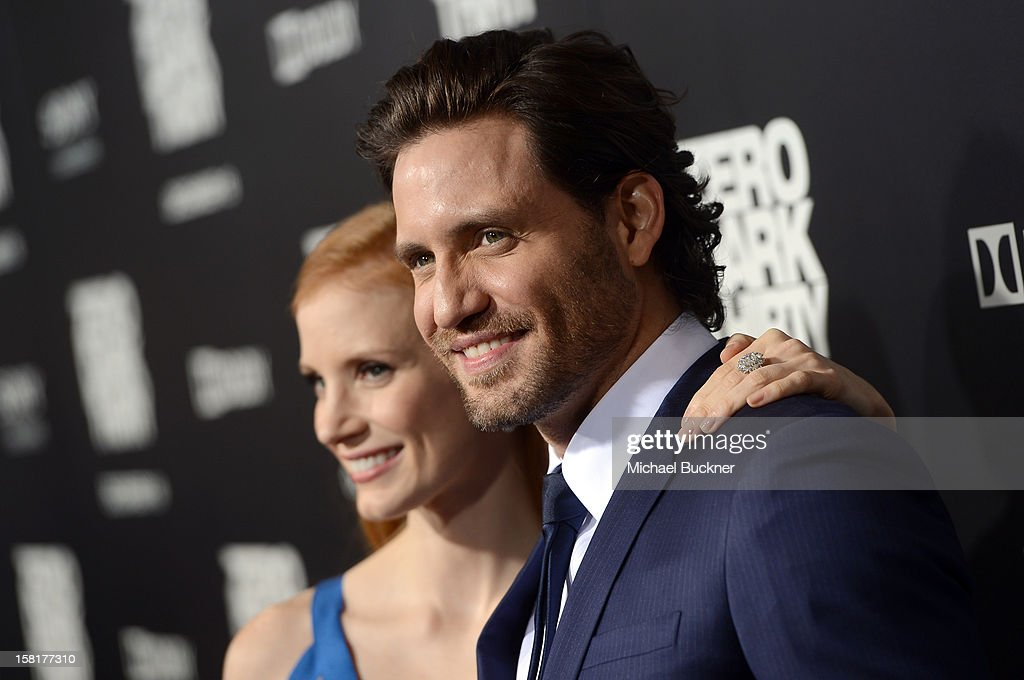 Actress <a gi-track='captionPersonalityLinkClicked' href=/galleries/search?phrase=Jessica+Chastain&family=editorial&specificpeople=653192 ng-click='$event.stopPropagation()'>Jessica Chastain</a> and actor Edgar Ramirez arrive at the Los Angeles premiere of Columbia Pictures' 'Zero Dark Thirty' at Dolby Theatre on December 10, 2012 in Hollywood, California.