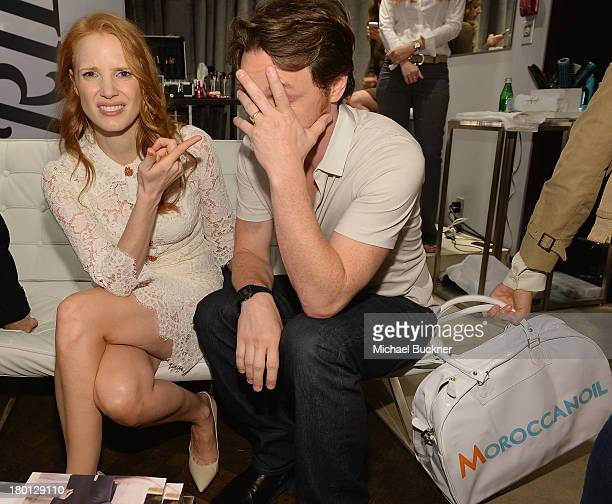 Actress Jessica Chastain and actor James McAvoy attend the Variety Studio presented by Moroccanoil at Holt Renfrew during the 2103 Toronto...