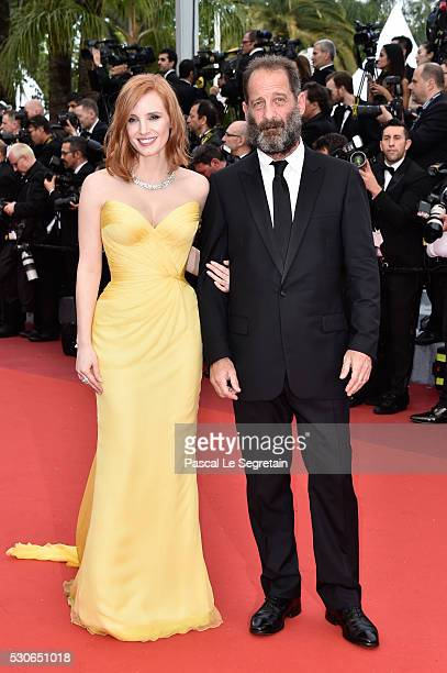 Actress Jessica Chastain and actor Vincent Lindon attend the 'Cafe Society' premiere and the Opening Night Gala during the 69th annual Cannes Film...