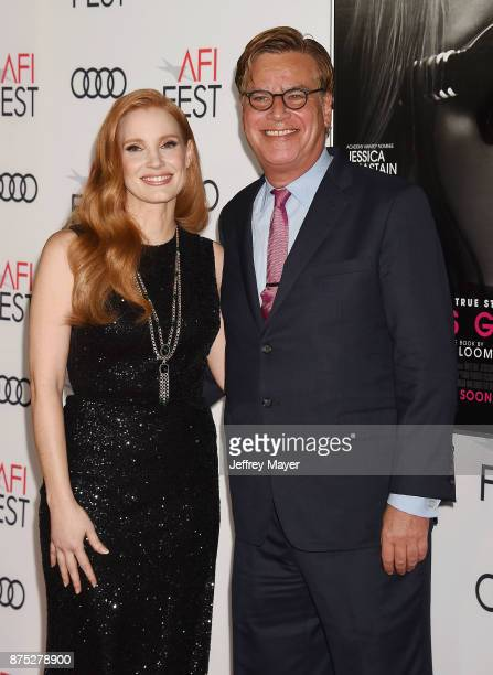 Actress Jessica Chastain and Director/screenwriter Aaron Sorkin attend AFI FEST 2017 Closing Night Gala Screening of 'Molly's Game' at TCL Chinese...