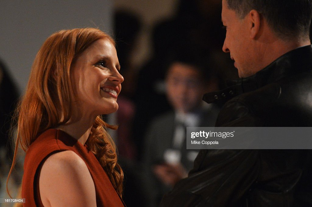 Actress <a gi-track='captionPersonalityLinkClicked' href=/galleries/search?phrase=Jessica+Chastain&family=editorial&specificpeople=653192 ng-click='$event.stopPropagation()'>Jessica Chastain</a> and W Magazine Editor-in-Chief <a gi-track='captionPersonalityLinkClicked' href=/galleries/search?phrase=Stefano+Tonchi&family=editorial&specificpeople=2497117 ng-click='$event.stopPropagation()'>Stefano Tonchi</a> attend the Calvin Klein Collection Fall 2013 fashion show during Mercedes-Benz Fashion Week at 205 West 39th Street on February 14, 2013 in New York City.