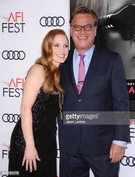 Actress Jessica Chastain and writer Aaron Sorkin attend the closing night gala screening of 'Molly's Game' at the 2017 AFI Fest at TCL Chinese...