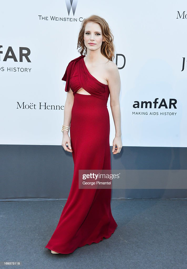 Actress <a gi-track='captionPersonalityLinkClicked' href=/galleries/search?phrase=Jessica+Chastain&family=editorial&specificpeople=653192 ng-click='$event.stopPropagation()'>Jessica Chastain</a> arrives at amfAR's 20th Annual Cinema Against AIDS at Hotel du Cap-Eden-Roc on May 23, 2013 in Cap d'Antibes, France.