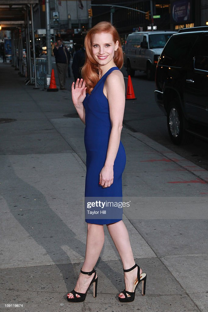 Actress Jessica Chastain arrives at 'Late Show with David Letterman' at Ed Sullivan Theater on January 7, 2013 in New York City.