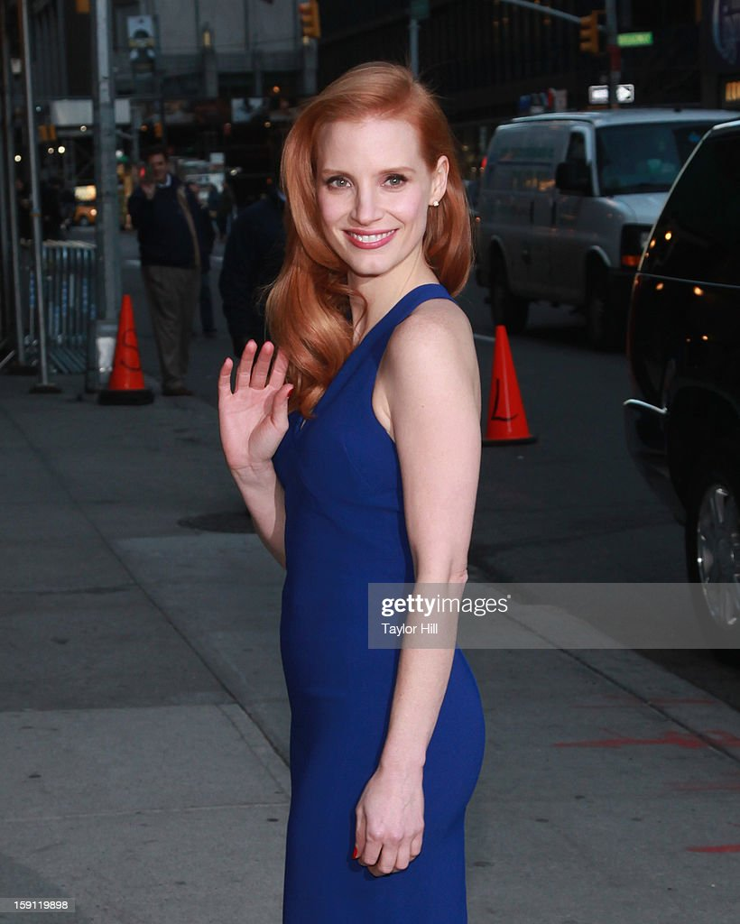 Actress <a gi-track='captionPersonalityLinkClicked' href=/galleries/search?phrase=Jessica+Chastain&family=editorial&specificpeople=653192 ng-click='$event.stopPropagation()'>Jessica Chastain</a> arrives at 'Late Show with David Letterman' at Ed Sullivan Theater on January 7, 2013 in New York City.