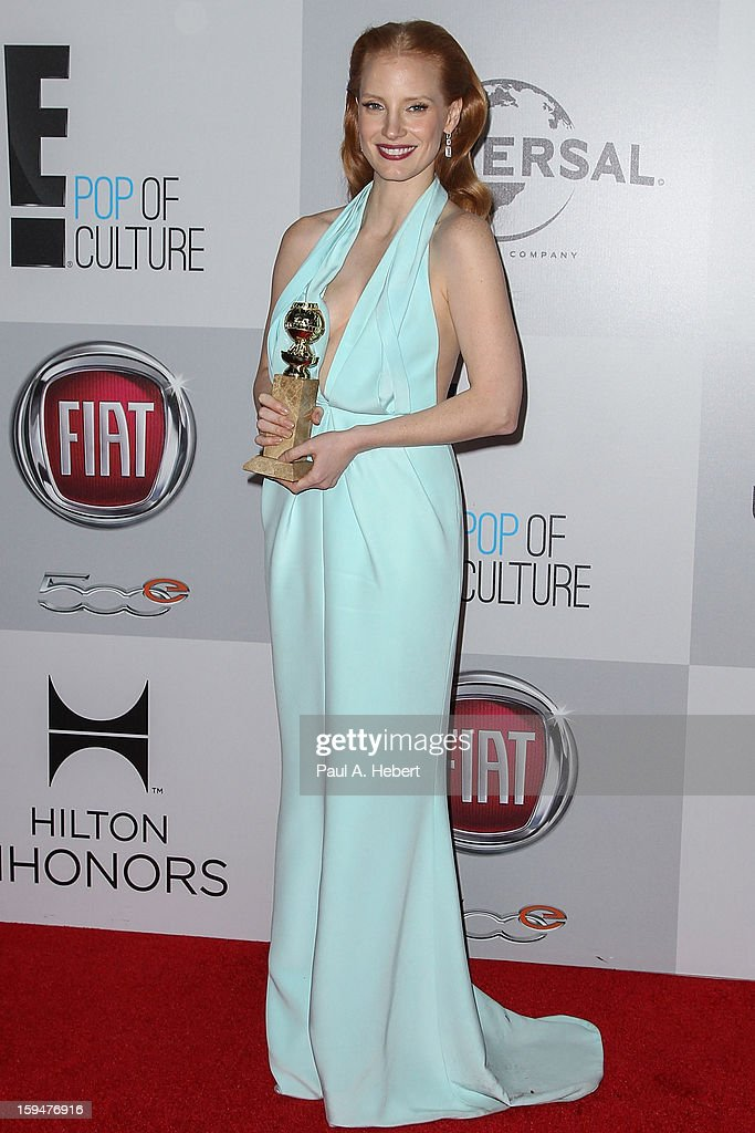 Actress <a gi-track='captionPersonalityLinkClicked' href=/galleries/search?phrase=Jessica+Chastain&family=editorial&specificpeople=653192 ng-click='$event.stopPropagation()'>Jessica Chastain</a> arrives at NBC Universal's 70th Annual Golden Globe Awards after party held at the Beverly Hilton Hotel on January 13, 2013 in Beverly Hills, California.