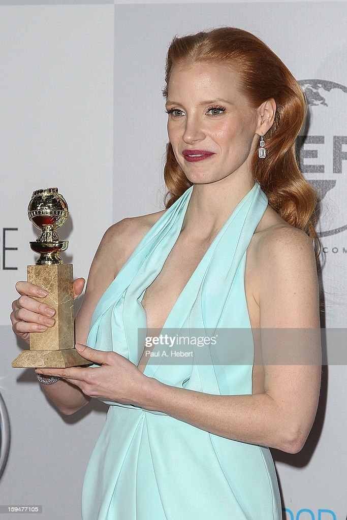 Actress Jessica Chastain arrives at NBC Universal's 70th Annual Golden Globe Awards after party held at the Beverly Hilton Hotel on January 13, 2013 in Beverly Hills, California.