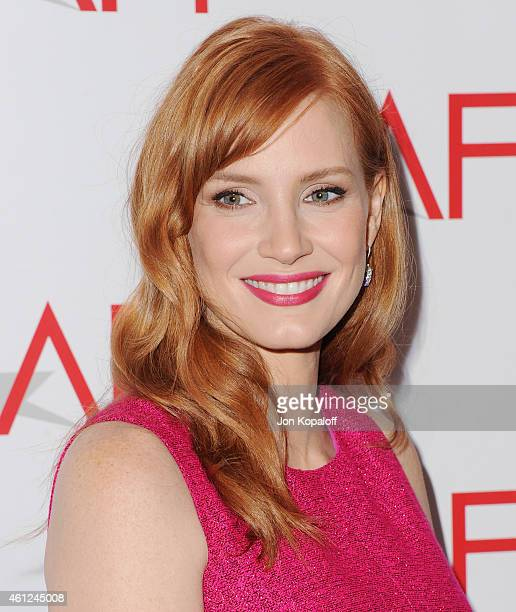 Actress Jessica Chastain arrives at the 15th Annual AFI Awards at Four Seasons Hotel Los Angeles at Beverly Hills on January 9 2015 in Beverly Hills...