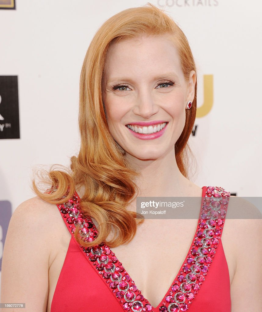 Actress Jessica Chastain arrives at the 18th Annual Critics' Choice Movie Awards at Barker Hangar on January 10, 2013 in Santa Monica, California.