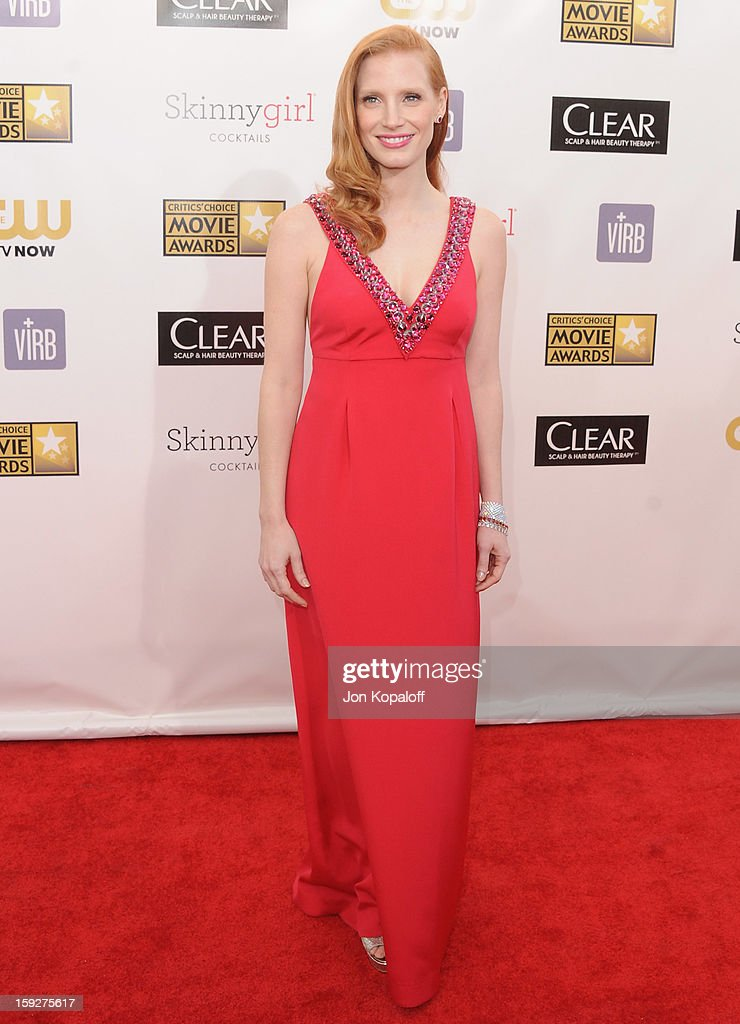 Actress Jessica Chastain arrives at the 18th Annual Critics' Choice Movie Awards at Barker Hangar on January 10 2013 in Santa Monica California