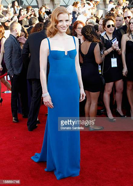 Actress Jessica Chastain arrives at the 18th Annual Screen Actors Guild Awards held at The Shrine Auditorium on January 29 2012 in Los Angeles...