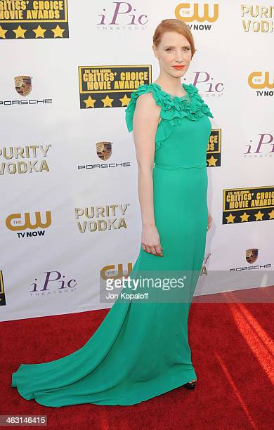 Actress Jessica Chastain arrives at the 19th Annual Critics' Choice Movie Awards at Barker Hangar on January 16 2014 in Santa Monica California