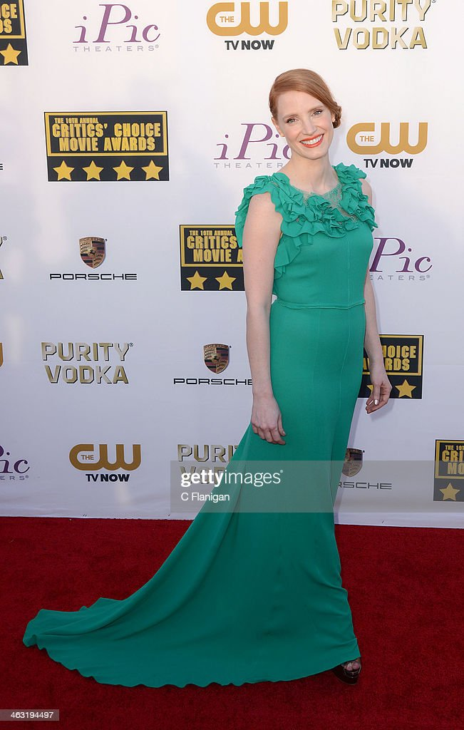 Actress Jessica Chastain arrives at the 19th Annual Critics' Choice Movie Awards at Barker Hangar on January 16, 2014 in Santa Monica, California.