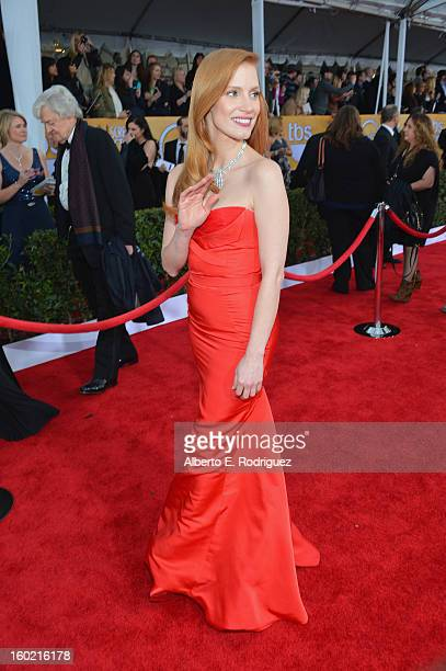 Actress Jessica Chastain arrives at the 19th Annual Screen Actors Guild Awards held at The Shrine Auditorium on January 27 2013 in Los Angeles...