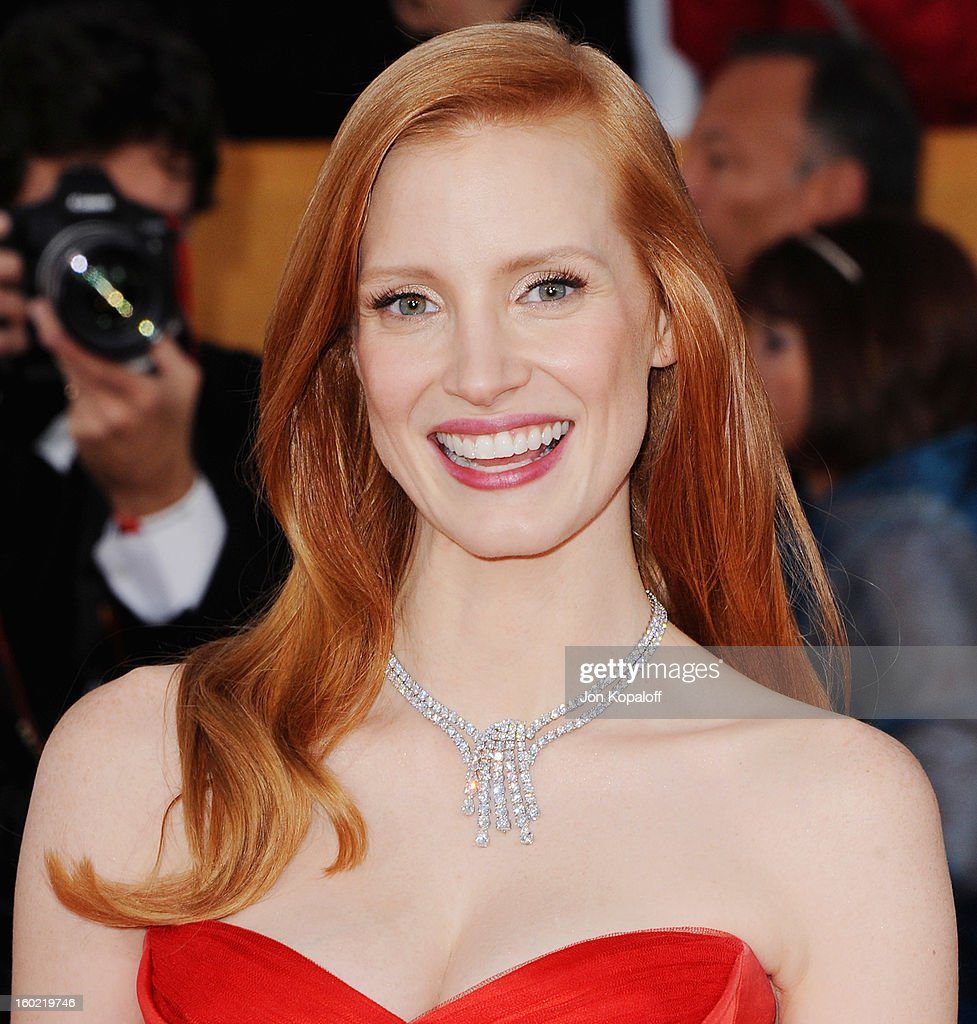 Actress Jessica Chastain arrives at the 19th Annual Screen Actors Guild Awards at The Shrine Auditorium on January 27, 2013 in Los Angeles, California.