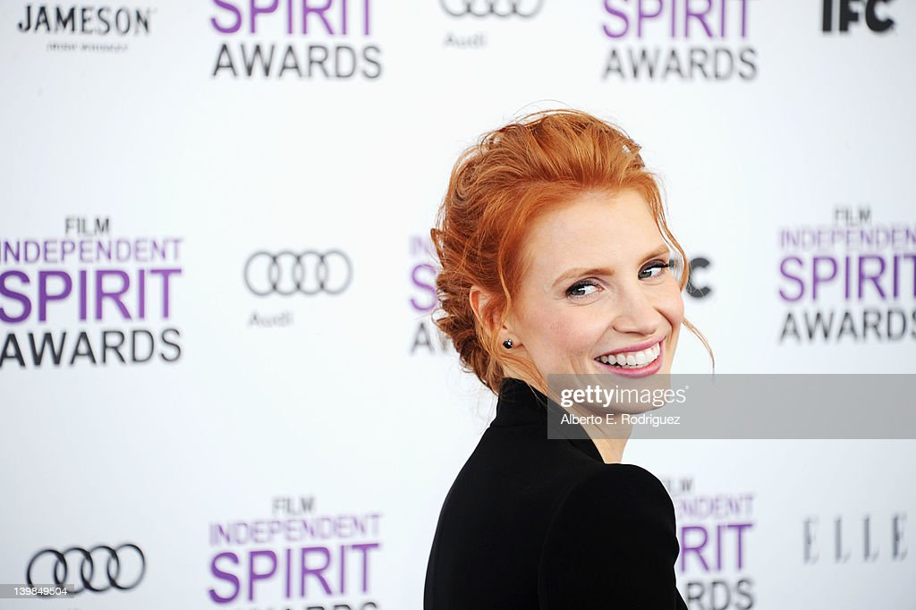 Actress Jessica Chastain arrives at the 2012 Film Independent Spirit Awards on February 25, 2012 in Santa Monica, California.