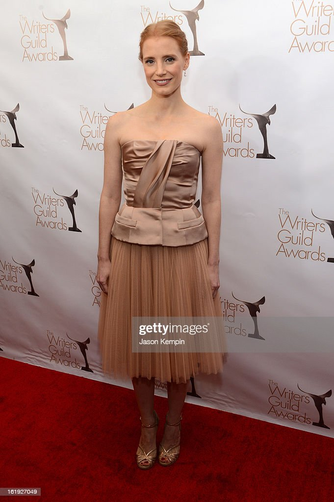 Actress <a gi-track='captionPersonalityLinkClicked' href=/galleries/search?phrase=Jessica+Chastain&family=editorial&specificpeople=653192 ng-click='$event.stopPropagation()'>Jessica Chastain</a> arrives at the 2013 WGAw Writers Guild Awards at JW Marriott Los Angeles at L.A. LIVE on February 17, 2013 in Los Angeles, California.