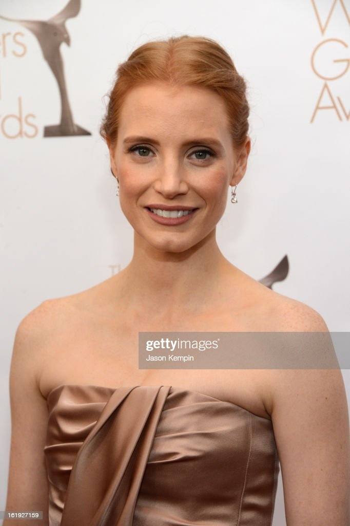 Actress Jessica Chastain arrives at the 2013 WGAw Writers Guild Awards at JW Marriott Los Angeles at L.A. LIVE on February 17, 2013 in Los Angeles, California.