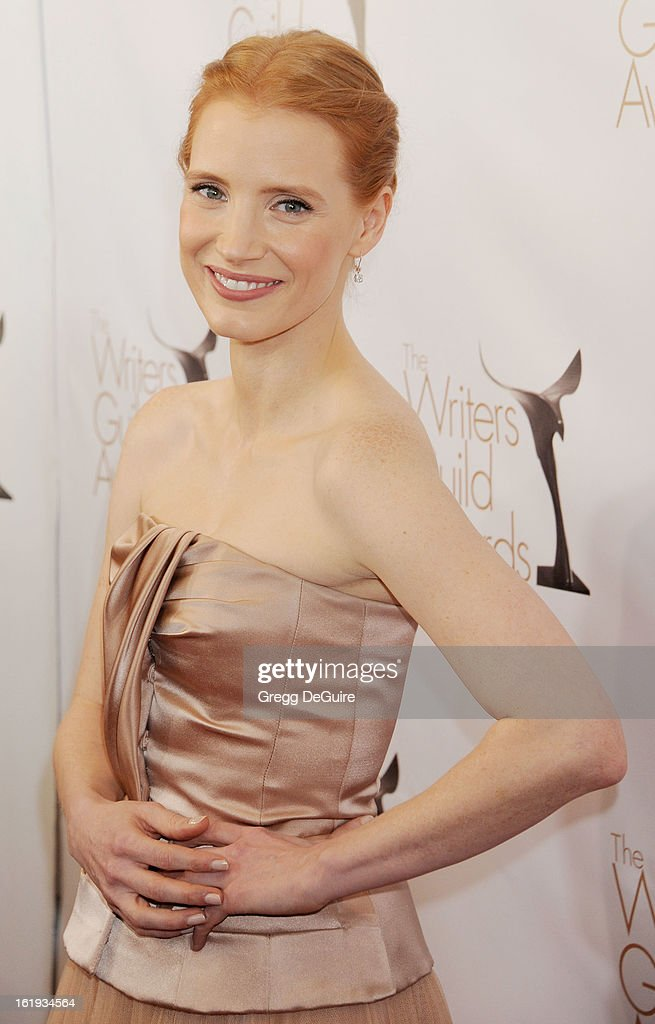 Actress Jessica Chastain arrives at the 2013 Writers Guild Awards at JW Marriott Los Angeles at L.A. LIVE on February 17, 2013 in Los Angeles, California.
