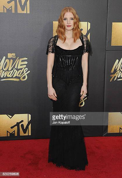 Actress Jessica Chastain arrives at the 2016 MTV Movie Awards at Warner Bros Studios on April 9 2016 in Burbank California