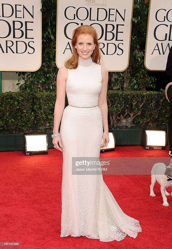Actress Jessica Chastain arrives at the 69th Annual Golden Globe Awards held at the Beverly Hilton Hotel on January 15 2012 in Beverly Hills...
