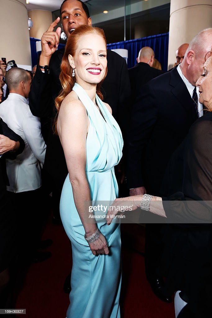 Actress <a gi-track='captionPersonalityLinkClicked' href=/galleries/search?phrase=Jessica+Chastain&family=editorial&specificpeople=653192 ng-click='$event.stopPropagation()'>Jessica Chastain</a> arrives at the 70th Annual Golden Globe Awards held at The Beverly Hilton Hotel on January 13, 2013 in Beverly Hills, California.