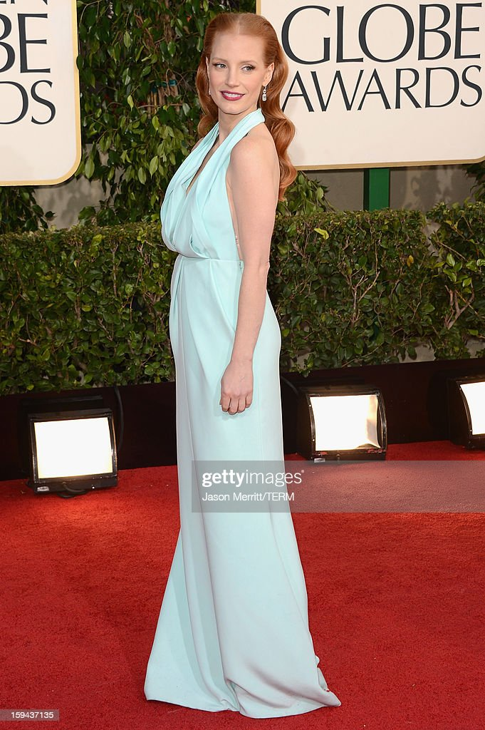 Actress Jessica Chastain arrives at the 70th Annual Golden Globe Awards held at The Beverly Hilton Hotel on January 13, 2013 in Beverly Hills, California.