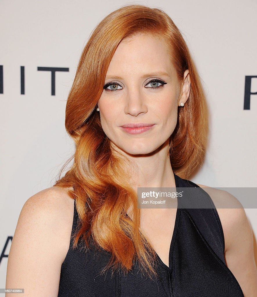 Actress <a gi-track='captionPersonalityLinkClicked' href=/galleries/search?phrase=Jessica+Chastain&family=editorial&specificpeople=653192 ng-click='$event.stopPropagation()'>Jessica Chastain</a> arrives at The Hollywood Reporter Nominees' Night 2013 Celebrating 85th Annual Academy Award Nominees at Spago on February 4, 2013 in Beverly Hills, California.