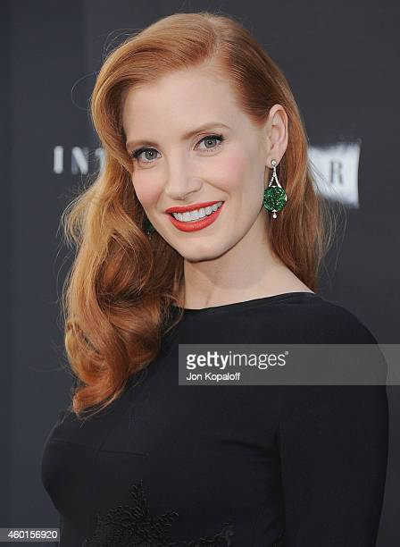 Actress Jessica Chastain arrives at the Los Angeles Premiere 'Interstellar' at TCL Chinese Theatre IMAX on October 26 2014 in Hollywood California