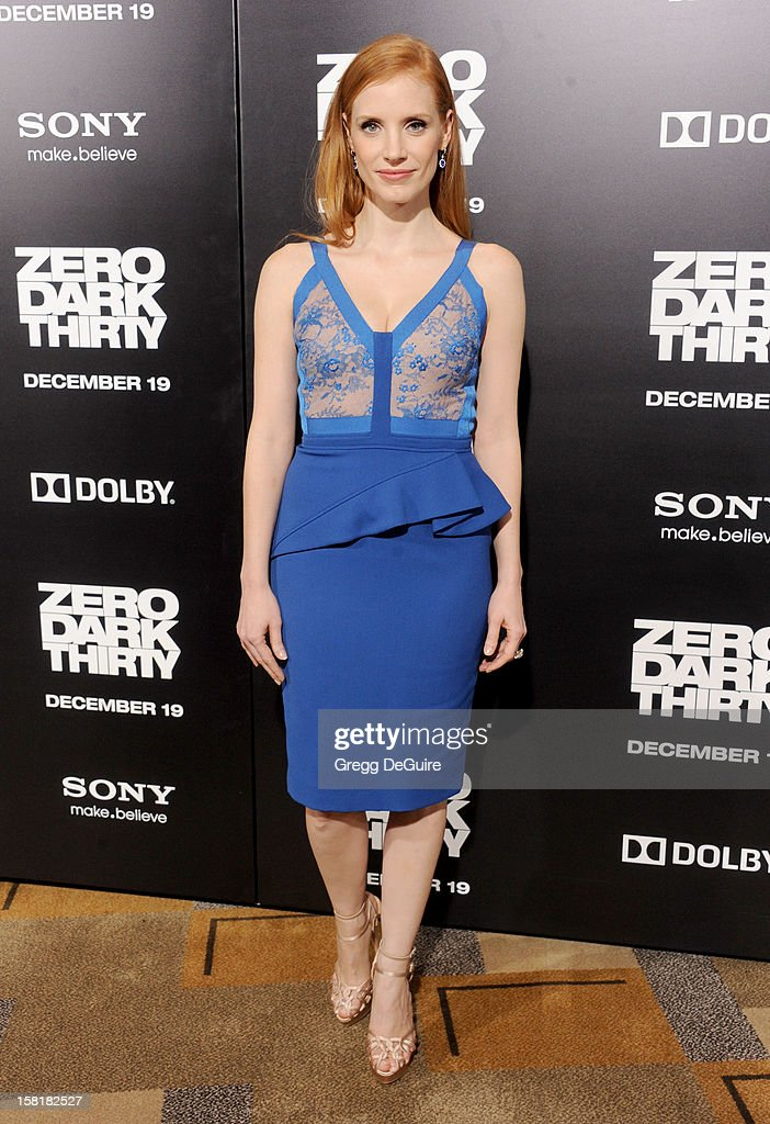 Actress <a gi-track='captionPersonalityLinkClicked' href=/galleries/search?phrase=Jessica+Chastain&family=editorial&specificpeople=653192 ng-click='$event.stopPropagation()'>Jessica Chastain</a> arrives at the Los Angeles premiere of 'Zero Dark Thirty' at the Dolby Theatre on December 10, 2012 in Hollywood, California.