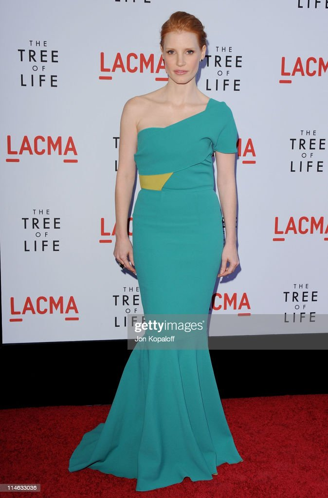 Actress Jessica Chastain arrives at the Los Angeles Premiere 'The Tree Of Life' at the Bing Theatre at LACMA on May 24 2011 in Los Angeles California