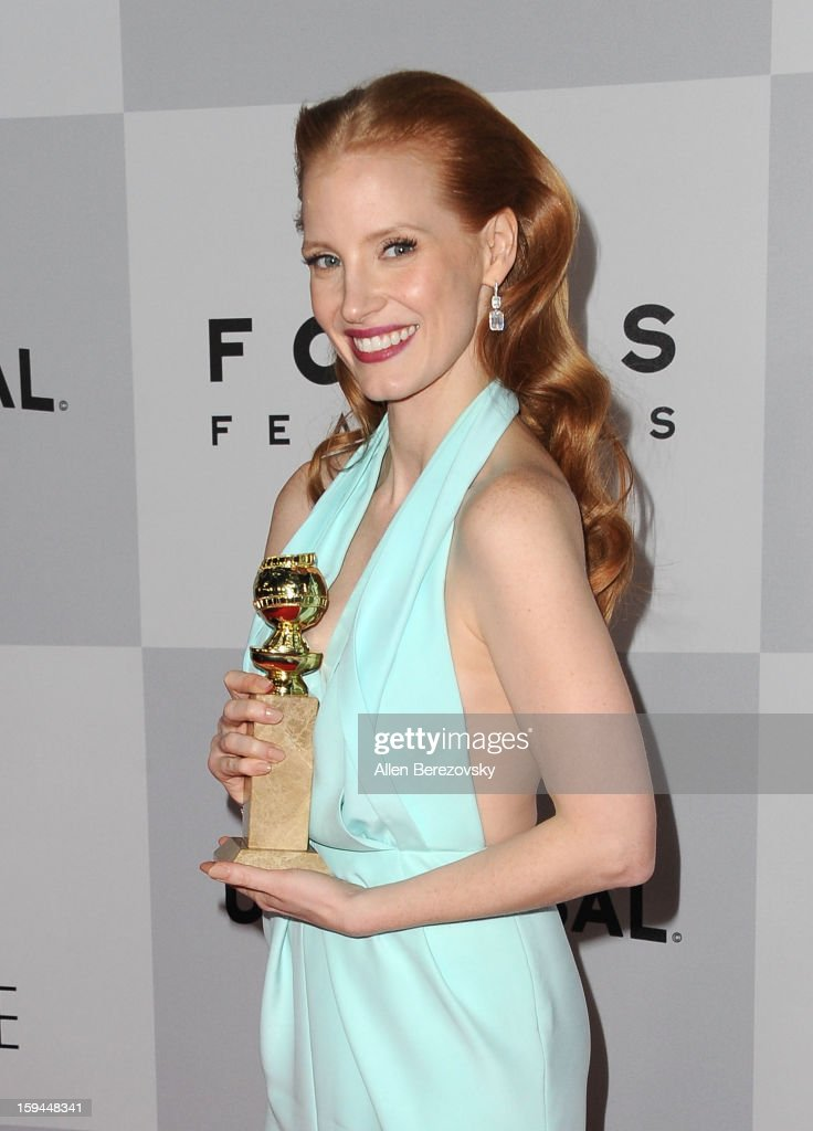 Actress <a gi-track='captionPersonalityLinkClicked' href=/galleries/search?phrase=Jessica+Chastain&family=editorial&specificpeople=653192 ng-click='$event.stopPropagation()'>Jessica Chastain</a> arrives at the NBC Universal's 70th annual Golden Globe Awards after party on January 13, 2013 in Beverly Hills, California.