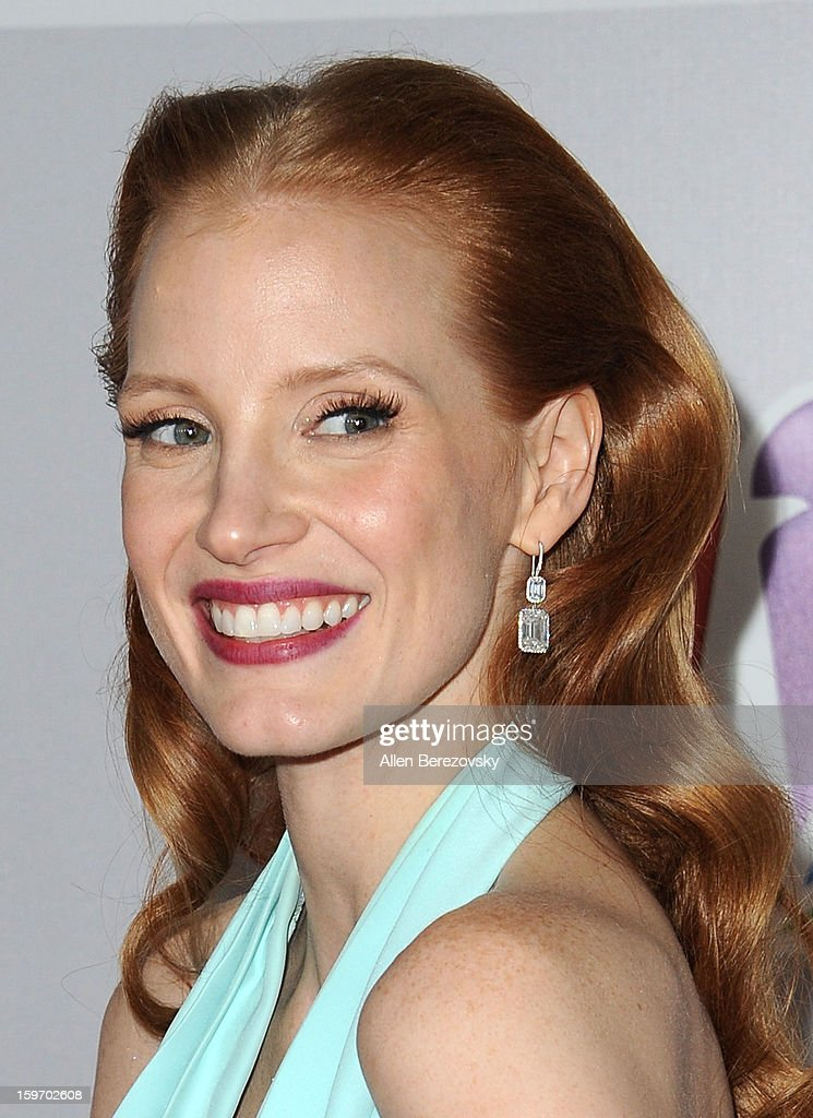 Actress Jessica Chastain arrives at the NBC Universal's 70th annual Golden Globe Awards after party on January 13, 2013 in Beverly Hills, California.