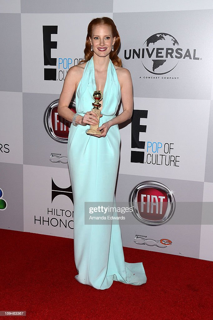 Actress <a gi-track='captionPersonalityLinkClicked' href=/galleries/search?phrase=Jessica+Chastain&family=editorial&specificpeople=653192 ng-click='$event.stopPropagation()'>Jessica Chastain</a> arrives at the NBC Universal's 70th Golden Globes After Party at The Beverly Hilton Hotel on January 13, 2013 in Beverly Hills, California.