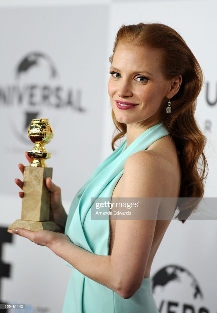 Actress Jessica Chastain arrives at the NBC Universal's 70th Golden Globes After Party at The Beverly Hilton Hotel on January 13, 2013 in Beverly Hills, California.