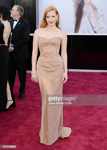 Actress Jessica Chastain arrives at the Oscars at Hollywood Highland Center on February 24 2013 in Hollywood California
