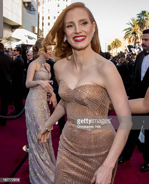 Actress Jessica Chastain arrives at the Oscars held at Hollywood Highland Center on February 24 2013 in Hollywood California