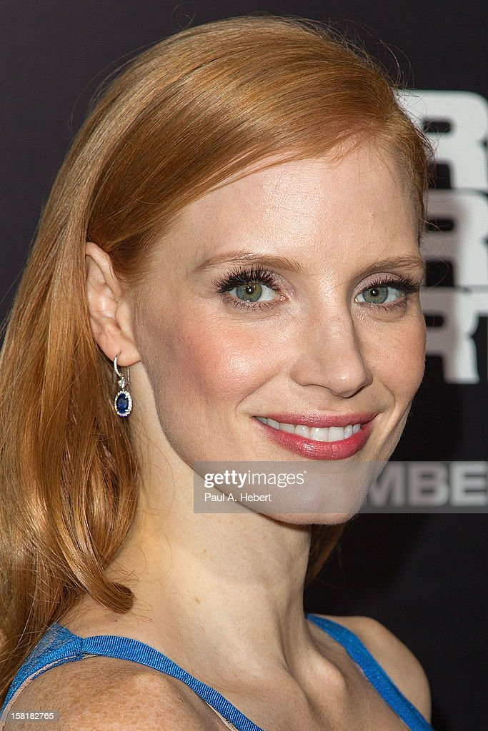 Actress <a gi-track='captionPersonalityLinkClicked' href=/galleries/search?phrase=Jessica+Chastain&family=editorial&specificpeople=653192 ng-click='$event.stopPropagation()'>Jessica Chastain</a> arrives at the premiere of Columbia Pictures' 'Zero Dark Thirty' held at the Dolby Theatre on December 10, 2012 in Hollywood, California.